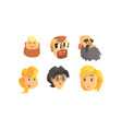 people avatars set face social view vector image vector image