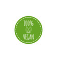 round vegan logo with leaf elements vector image