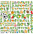 seamless sport pattern words vector image