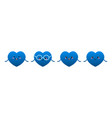 set cute cartoon blue heart characters vector image vector image