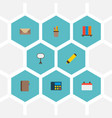 set of bureau icons flat style symbols with vector image vector image