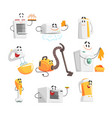 smiling household appliances set for label design vector image vector image