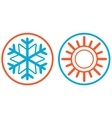 snowflake and sun isolated icon vector image