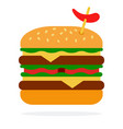 spicy burger with beef vector image vector image