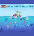 stop ocean plastic pollution poster with pile of vector image vector image