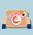 top view of breakfast on wooden tray vector image