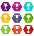 winner cup icon set color hexahedron vector image vector image