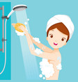 young woman shower in bathroom vector image vector image