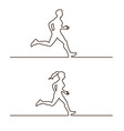 line silhouettes of runners set of linear vector image