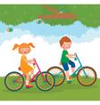 Children ride on the bike vector image