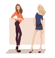 two fashion girls vector image