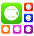 baseball ball set color collection vector image vector image