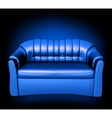 Blue leather sofa vector image
