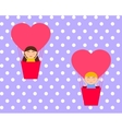 Boy and gerl sitting in hot air balloon in the vector image vector image