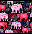 bright pattern beautiful elephants vector image vector image