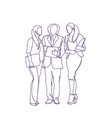 business people silhouette discuss document vector image