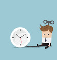 businessman gets chained with clock vector image vector image