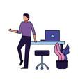 businessman office desk laptop chair vector image