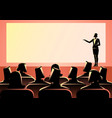 businesswoman giving a presentation on big screen vector image vector image