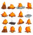 campfire icon set cartoon style vector image vector image