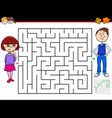 cartoon maze game with girl and boy vector image vector image