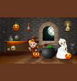 cartoon of witch and skull bride vector image vector image