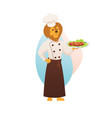 chef lion king character hold plate with meat dish vector image vector image