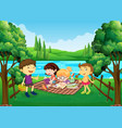 children having picnic by the river vector image vector image