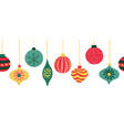 christmas ornaments seamless border vector image