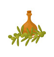 clay jug of olive oil and a branch of a plum tree vector image