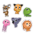 Cute cartoon badges with animals vector image