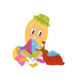 cute little girl sitting among scattered clothes vector image vector image