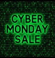 cyber monday sale promotion banner on binary code vector image vector image