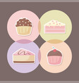 delicious cupcake with set icons vector image