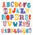 funny kids font comic childish latin letters vector image