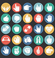 gestures icon set on color circles black vector image