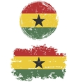 Ghanaian round and square grunge flags vector image vector image