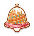 gingerbread cookies bell merry vector image