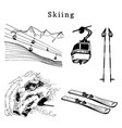 hand sketches of skiing elements vector image vector image