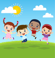 happy jumping kids vector image vector image