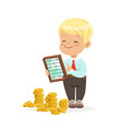 happy lirrle boy businessman counting his money vector image vector image