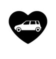 icon black heart is symbol car in love vector image