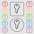 Key icon sign symbol on the Round and square vector image
