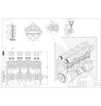 machine building drawing engine car on a white vector image vector image