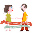 Man and Woman Holding Hands with Love You Title on vector image vector image