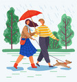 man and woman walk with dog during rainy weather vector image vector image