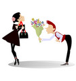 man woman and bunch of flowers vector image vector image