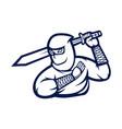 ninja with sword mascot logo black and white vector image
