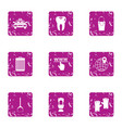 online order icons set grunge style vector image