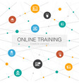online training trendy web template with simple vector image